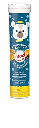 intact Wettertrotz Brausetabletten - 15 Stk, Multivitamin und Vitamin D3 für Kinder, mit leckerem Tropic-/Maracujageschmack auf Traubenzuckerbasis, 75 g