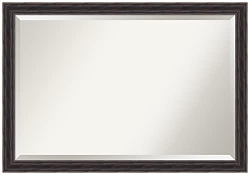 Amanti Art Framed Vanity Mirror | Bathroom Mirrors for Wall | Rustic Pine Narrow Mirror Frame | Solid Wood Mirror | Large Mirror | 27.38 x 39.38 in.