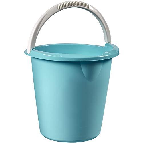H-Collection Runder Eimer mit Henkel und Ausgußeinkerbung 10 Liter in blau • Kunststoffeimer Griff Putzeimer 10L Wasser Baueimer Haushalt Küche