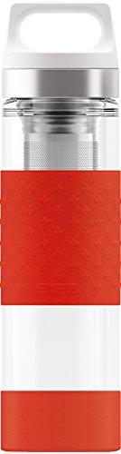 SIGG Hot & Cold Glass, 0.4 L, Doppelwandige-isolierte Glas Trinkflasche mit Silikonschutz, BPA Frei, Rot