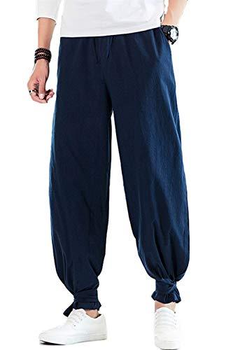 CLANMILUMS Mens Cotton Drawstring Pants Elastic Waist Casual Jogger Yoga Pants (38, Navy)