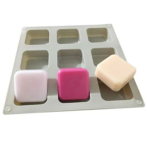 石鹸作り用品 石鹸のための1個のシリコン石鹸金型9キャビティの正方形の石鹸金型DIYの手作りのシリコーンベーキングモールド ソープベース