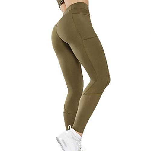 GKKXUE Pantalones de Yoga de Cintura Alta de Las Mujeres con los Bolsillos, a Prueba de Pendientes Pantalones de Yoga de Cintura Altos de 4 vías estiramientos, Suaves (Color : Army Green, Size : S)