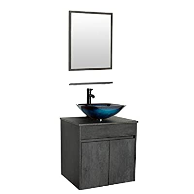 """eclife 24"""" Bathroom Vanity Sink Combo Wall Mounted Concrete Grey Cabinet Vanity Set Ocean Blue Square Tempered Glass Vessel Sink Top, W/ORB Faucet, Pop Up Drain & Mirror (A04E03CC)"""
