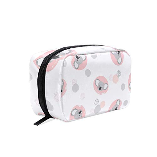ISAOA Koala - Mini bolsa de maquillaje portátil de viaje, impermeable, estuche organizador de maquillaje, neceser de almacenamiento de belleza con cremallera para mujeres y niñas