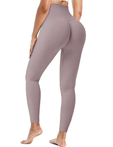 Fulbelle Butt Lifting Leggings,Casual Athletic Workout Pants for Women Anti Cellulite Tummy Control Booty Shaping Sexy Running Silky Quick-Dry Opaque Tights Light Purple S
