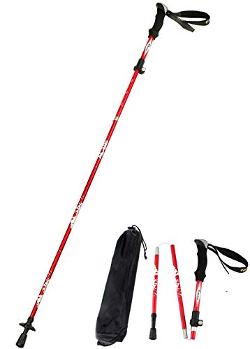 Alafen Aluminum Collapsible Ultralight Travel Walking Hike Stick Trekking Pole for Men and Women (Red)