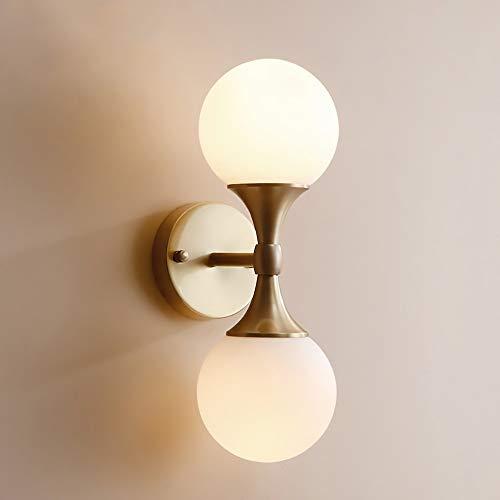 De enige goede kwaliteit Decoratie Creatieve Dubbele Hoofd Wandlamp Koper Slaapkamer Aisle Woonkamer Nachtkastje Wandlamp Badkamer Spiegel Koplampen Hotel Decoratieve Verlichting Villa