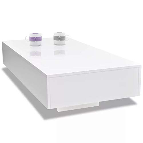 Cikonielf Rectangle Glass Coffee Tables High Gloss Side Table with High Gloss Finish Modern Living Room Furniture - White 115 x 55 x 31 cm MDF