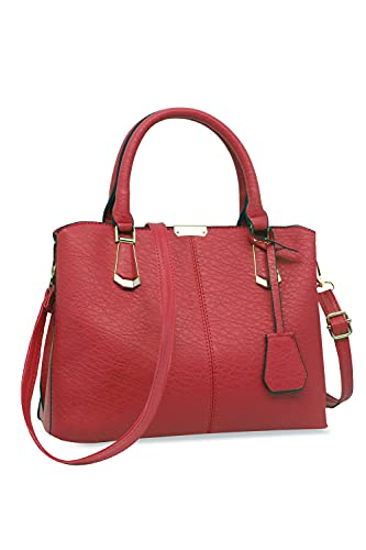 Purses and Handbags for Women Fashion Messenger Bag Ladies PU Leather Top Handle Satchel Shoulder Tote Bags (wine red)