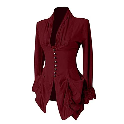 Blusa vintage de manga larga para mujer, cuello en V, cuello en V, cierre de botón, manga larga, elegante, monocolor, primavera, otoño, dobladillo irregular., Vino, L