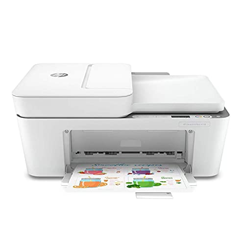 Impresora inalámbrica todo en uno HP DeskJet Plus 4158, escanea, copia, tinta instantánea lista, 7FS76A (renovada)