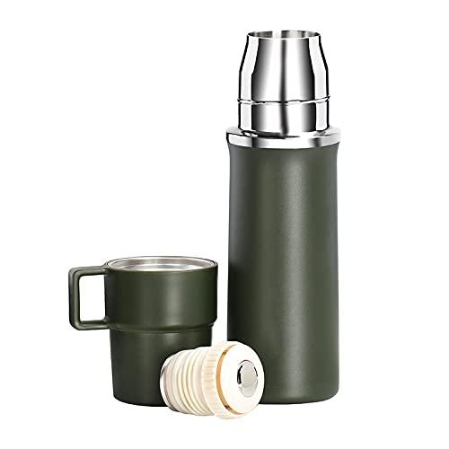 Termo de Agua Tapa de la Taza con Mango Botella de Agua Botellas térmicas para té y café Taza de Frasco de vacío Acero Inoxidable Verde Militar