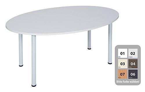 Dila GmbH Besprechungstisch Schreibtisch Konferenztisch Oval Tisch Büromöbel Schreibtische (Weiß, 160 x 100)