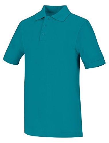 CLASSROOM Big Boys' Youth Unisex Short Sleeve Pique Polo, Teal, Large