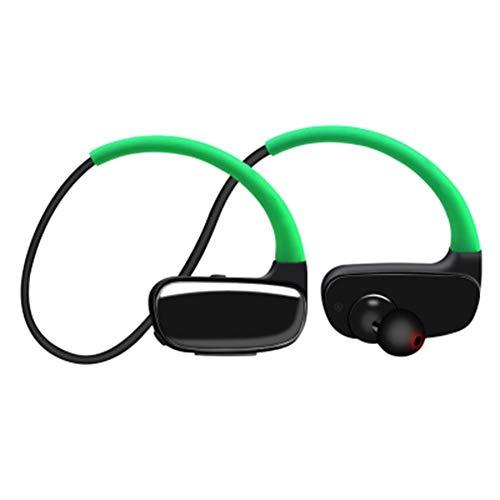 WSGLZ Auriculares Bluetooth Resistente Al Agua IPX7, Wireless Sport Auriculares, Equipo De Música Estéreo Bajo Sweatproof Auriculares/Micrófono, Auriculares con Cancelación De Ruido,Verde