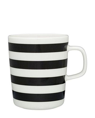 Marimekko - TASARAITA Mug - Kaffeebecher - Henkelbecher - Tasse - Steinzeug - 250 ml - Black, White - schwarz, weiß
