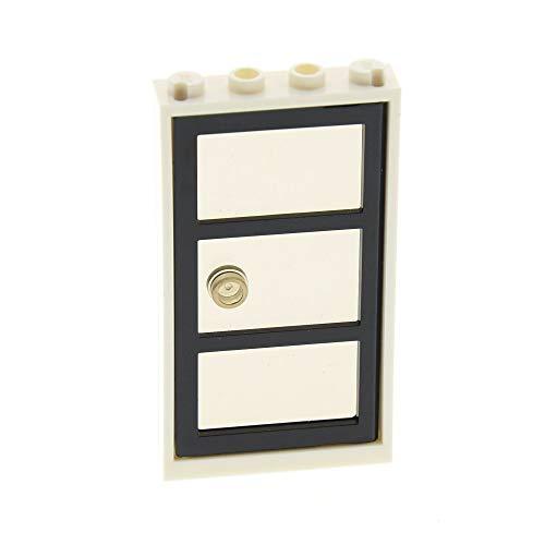 1 x Lego System Tür Rahmen Weiss 1x4x6 3 Felder Scheibe Flügel Glas transparent schwarz mit Hand Knauf