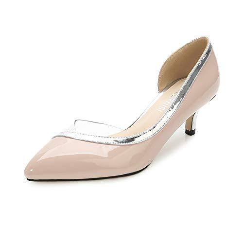 Gladwill Zapatos de bomba para mujer Sexy punta puntiaguda bajos Tacones de moda línea de plata vestido bombas zapatos