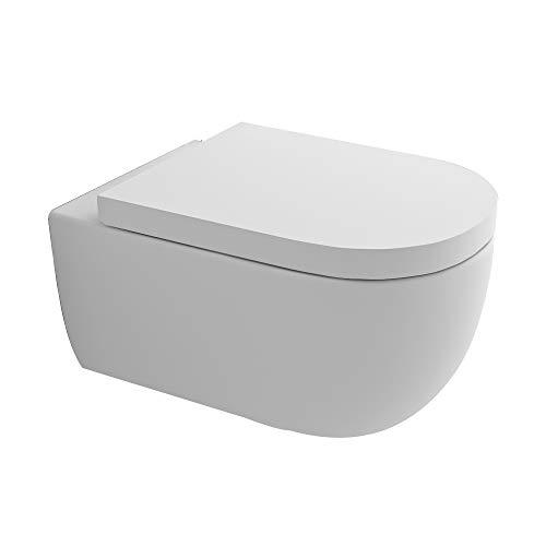 Hochwertiges Spülrandloses Hänge WC I Toilette aus Keramik mit Antibakterieller Oberfläche Nano Beschichtung I Abnehmbarer WC Sitz mit Absenkautomatik