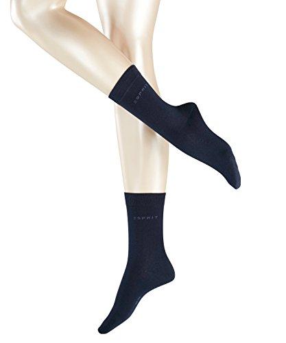 ESPRIT Damen Socken Uni 2-Pack - 80% Baumwolle, 2 Paar, Blau (Marine 6120), Größe: 39-42