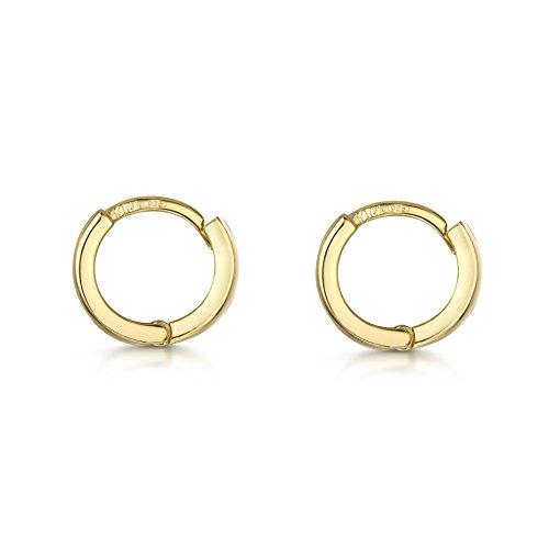 Amberta Gold Plated on Fine 925 Sterling Silver Pair of Round Hinged Hoops - Sleeper Earrings Diameter 10 20 45 65 mm (10mm)