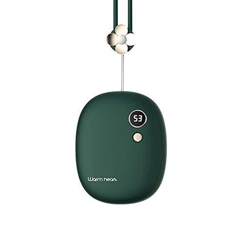 XIUWOUG Scaldamani USB, Scaldamani Tascabile Ricaricabile da 10000 mAh, Scaldamani Power Bank Portatile 2 in 1, Terapia del Calore Ottimo per l'artrite, Sport Indoor-Outdoor,Verde
