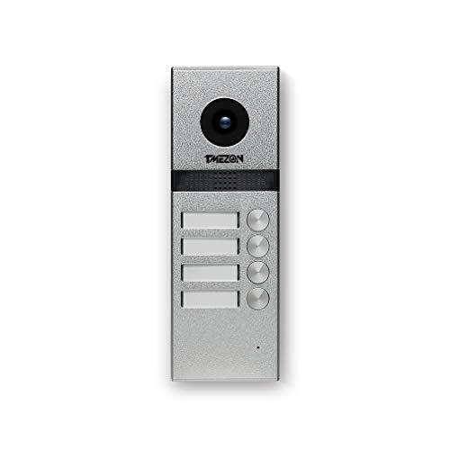 TMEZON 4 hilos cámara exterior timbre 1200TVL interfono Videoportero VDP-739EM Monitor para apartamento/multifamilia/bifamiliar, visión nocturna, IP55