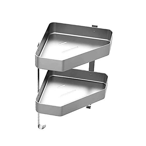 Estante de esquina adhesivo, organizador de ducha de baño, con 2 ganchos, para cocina, inodoro, sin perforación, organizador de bañera montado en la pared para cocina (A Silver)