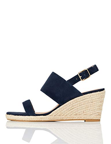 Marchio Amazon - find. Wedge Two Part Espadrille Sandalo Espadrillas con Zeppa, Blau (Blue), 37 EU