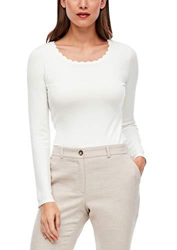 s.Oliver BLACK LABEL Damen Leichter Pullover mit Muschelkante soft white 40