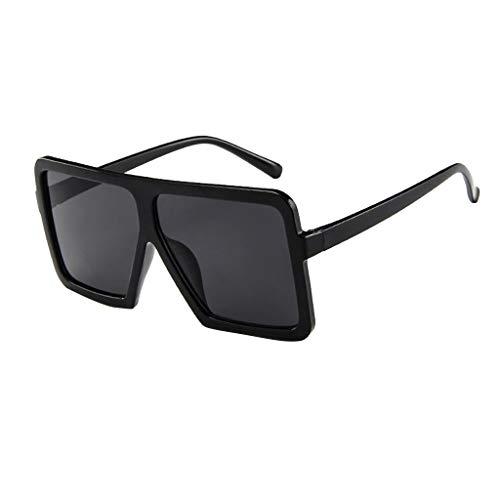 Lazzboy Frauen Männer Vintage Retro Brille Unisex Big Frame Sonnenbrille Eyewear Design Herren Und Damen Mode übergroße Cat Eye(Schwarz)