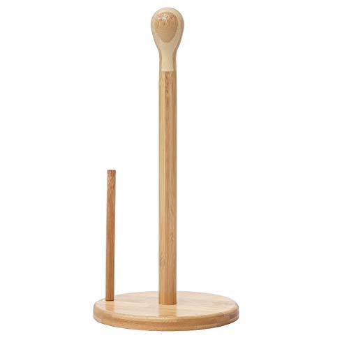 Mendler Küchenrollenhalter HWC-B84, Rollenhalter Küchenpapierständer Ständer, Bambus 34x16x16cm