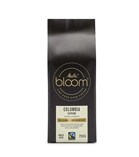 Melitta BLOOM Colombia Supremo: Pour Over Kaffee, leicht fruchtig, ganze Bohne, Fairtrade, 100% Arabica, 250g