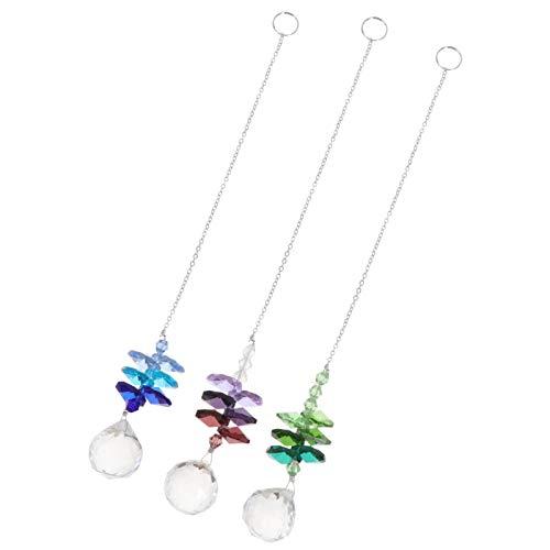Cabilock 3 Stück Kristalle Kugel Prismen Sonnenfänger Hängende Kristalle Ornament mit Klarer Kristallkugel für zu Hause Weihnachtsgarten Auto Anhänger Zufällig