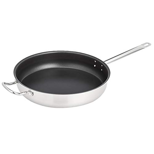 AmazonCommercial 16'' Non-Stick Stainless Steel Aluminum-Clad Fry Pan with Non-Stick Coating and Helper Handle
