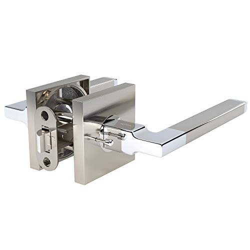 AVALON 0530 - Contemporary / Modern Door Handles / Levers (Privacy / Passage) in Satin Nickel - Polished Chrome Finish