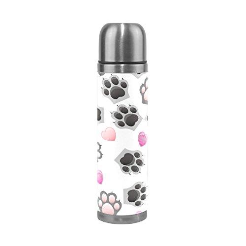 Ffy Go Travel Mug, mignon Animal Paw Print personnalisé Thermos en acier inoxydable LeakProof Thermos isotherme extérieur Cuir pour filles garçons 500 ml