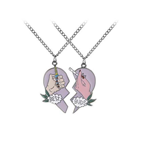FENICAL Buds Best Friends Heart Split Cigarette Lighter Matching Collares Pendientes Accesorios Regalo de cumpleaños 2pcs
