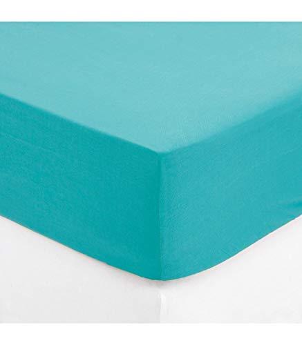 Maison futée - Drap housse 2 personnes 160x200 cm 100% Coton - Turquoise