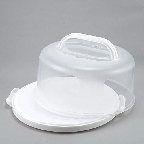 Cake Carrier 10in Cake Stand White with Handle Holder Cover Round...