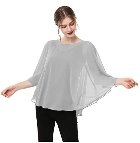 Casual Chiffon Cape Soft Shawl Sheer Shrugs Poncho Capelets shawls and Wraps for Women (Silver Gray)