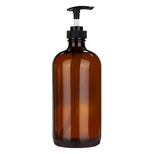 TOOGOO 500ml Pompe De Jet D'ambre De Verre Ambre Met L'aromatherapy D'huile Essentielle De Bouteilles, 1pcs
