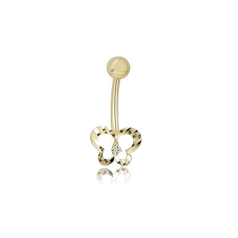 Diamond Belly Button Ring Body Jewelry - 014 Gauge