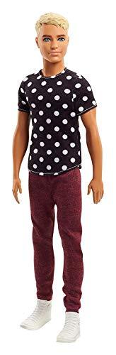 Barbie FJF72 Ken Fashionistas Puppe in schwarzen Shirt mit Punkten