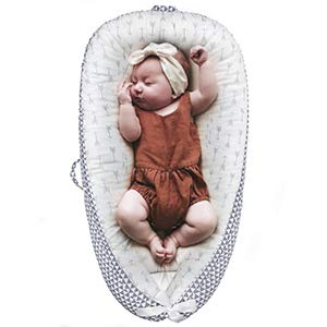 Lion Paw Baby Lounger Baby Nests Soft Infant Lounger Bassinet Portable Soft & Breathable Newborn Crib, Co-Sleeping Baby Bassinet (0-24 Months)-Grey Arrow