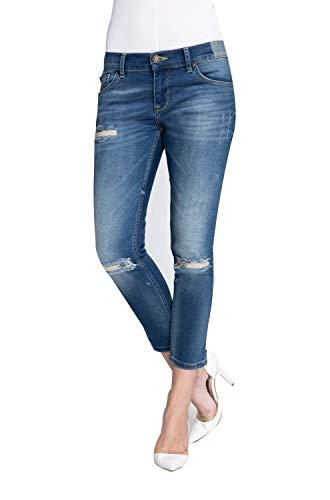 Zhrill Damen Mom Jeans 7/8 Cropped 5 Pocket Vintage Slim Fit Anita, Farbe:W764 - Blue, Größe:W28 / L26