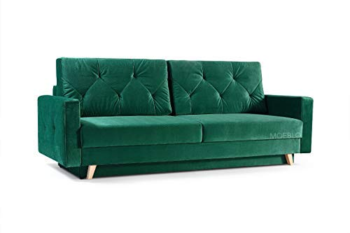 mb-moebel Modernes Sofa Schlafsofa Kippsofa mit Schlaffunktion Klappsofa Bettfunktion mit Bettkasten Couchgarnitur Couch Sofagarnitur 3er NICO (Grün)
