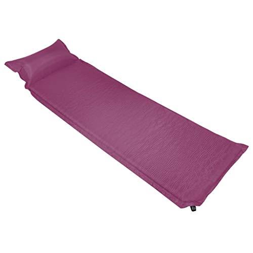 vidaXL Isomatte Aufblasbar mit Kissen Selbstaufblasend Luftmatratze Thermomatte Schlafmatte Campingmatte Camping Matratze 66x200cm Rosa