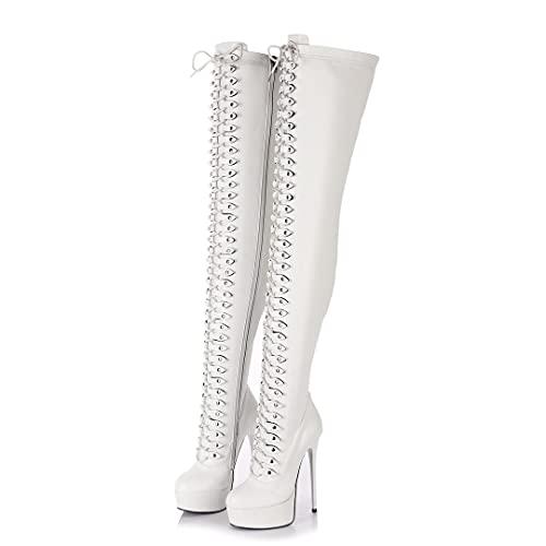 GIARO MOUCHARD Premium Stiefel für Damen - elegante High-Heels - Kniestiefel mit hohem Absatz - Damenstiefel - Stöckelschuhe für Frauen - erhältlich in 5 Farben (Weiß Matt, numeric_38)